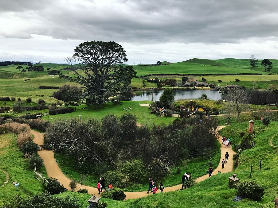 View over Hobbiton in New Zealand