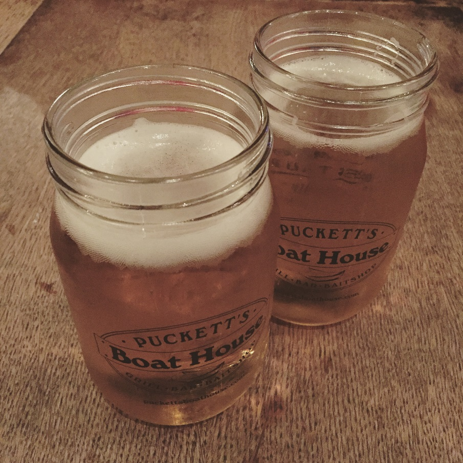 Mason jar beers from Pucketts Boat House